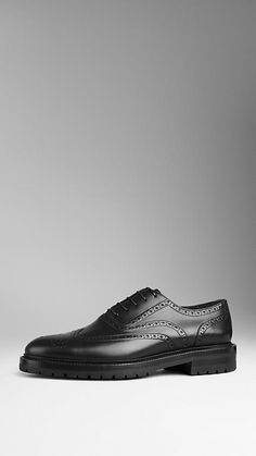 Black Leather Wingtip Brogues With Rubber Sole | Burberry $690