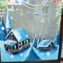 réalisation de vitrine peint à la main Stéphane Hauton (Artiste peintre - Graphiste Designer) www.stephane-hauton.fr