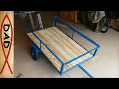 DIY lawn mower trailer / garden cart Here is our homemade trailer from a harbor freight dolly and old bed rails. The most expensive part of trailer was the d. Ride On Mower Trailer, Lawn Tractor Trailer, Trailer Diy, Quad Trailer, Bike Trailer, Trailer Build, Garden Tool Shed, Garden Tool Storage, Yard Cart