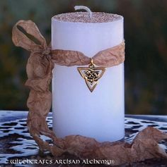 WHITE AMBER HONEY Celtic Knot  Pillar Candle by ArtisanWitchcrafts
