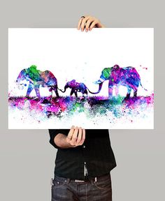 Elefante familia imprimir acuarela vivero arte por FineArtCenter