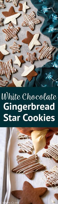 White Chocolate Gingerbread Cookies - A soft and chewy gingerbread cookie that's brimming with spices and perfectly paired with a sweet white chocolate coating. An excellent holiday cookie recipe you won't want to lose! #christmascookies #cookies #dessert #holidaybaking #gingerbread #whitechocolate via @cookingclassy