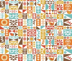 Folky Floral Geometrics (warm) fabric by christinewitte on Spoonflower - custom fabric