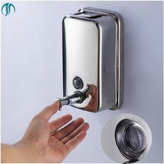 Liquid Dispenser Wall Mounted Shampoo Containter Hand Sanitizer Bottle Soap Dispenser Stainless Steel Bathroom Dispenser #Affiliate