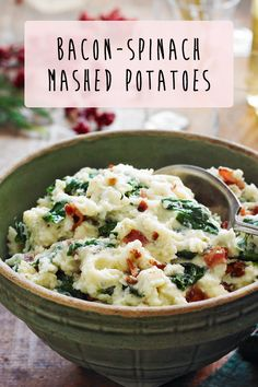 What's dinner without a helping of Bacon-Spinach Mashed Potatoes? #recipe