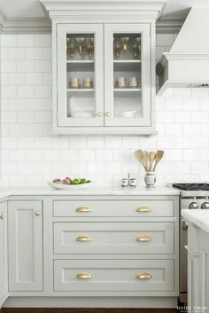 Looking for some grey and gold kitchen inspiration? Here's a sneak peek at our grey and gold kitchen renovation + the images that inspired me! Grey Kitchen Cabinets, Kitchen Cabinet Design, Kitchen Redo, Interior Design Kitchen, New Kitchen, White Cabinets, Kitchen Ideas, Colored Cabinets, Kitchen Designs