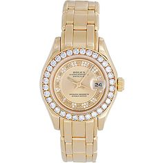 Preowned Rolex Lady's Yellow Gold Masterpiece/pearlmaster Automatic... ($21,900) ❤ liked on Polyvore featuring jewelry, watches, accessories, bracelets, yellow, rolex watches, gold watches, 18 karat gold watches, pre owned watches and diamond bezel watches