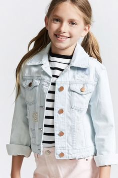 Girls Distressed Denim Jacket (Kids)