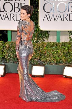 Lea Michele's sexy silver Marchesa at the 2012 Golden Globes