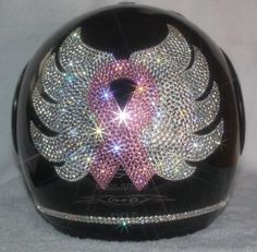 Bling Breast Cancer Pink Ribbon DOT Helmet--would also be awesome on a pumpkin! Breast Cancer Quotes, Breast Cancer Walk, Breast Cancer Support, Breast Cancer Survivor, Breast Cancer Awareness, Ruby Helmets, Pink Pumpkins, Go Pink, Motorcycle Helmets