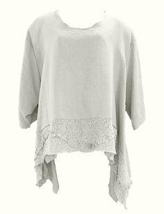 AKH Fashion Lagenlook weites Shirt aus Leinen mit Rüschen in weiß XXL Mode bei www.modeolymp.lafeo.de