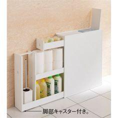 幅15cmの薄型なのに12ロールを収納力できるトイレ収納ラックです。隠したいトイレブラシも収納可能。ホワイトが清潔感のあるトイレタリーにぴったり。天板収納部にはサニタリー用品やお掃除ペーパーが入ります。