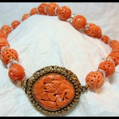 Antqiue Chinese Pierced and Carved Coral Necklace and Clasp