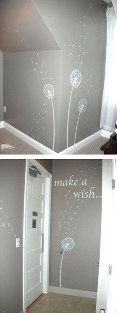 dandalion wall decor want to do this for the girls toddler room :). Change colors...
