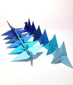 Nautical Blue Origami Cranes Garland Blue Mobile Cake