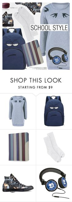 """""""School Style"""" by pokadoll ❤ liked on Polyvore featuring Hanes, Converse, polyvoreeditorial and polyvoreset"""