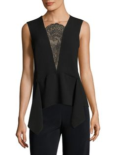 BCBGMAXAZRIA Whitlee Lace Inset Top