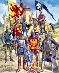 Various knights and their heraldry. Medieval World, Medieval Knight, Medieval Armor, Friedrich Ii, Empire Romain, Armadura Medieval, Early Middle Ages, Knight Armor, Knights Templar