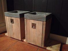 Fontein vierkant met steigerhouten kastje