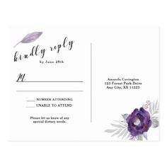Elegant Purple Silver Gray Floral RSVP reply Postcard - floral style flower flowers stylish diy personalize
