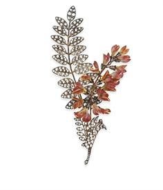 AN ANTIQUE DIAMOND AND ENAMEL CORSAGE BROOCH, BY BOUCHERON | Jewelry Auction | 19th Century, Jewelry | Christie's