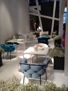 Ligne Roset's outdoor collection display at Salone fair in Milan, Italy- Pavilion 5, C09-D04