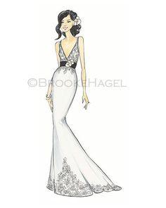 JulieBridal Fashion Illustration Printby Brooke by BrooklitBride