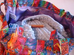 KNITTING BAG APRON  Laurel Burch Canines and by KOALACaddie, $65.00