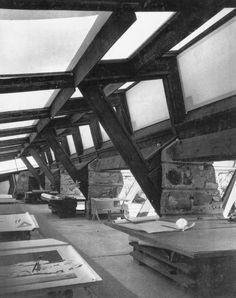 Drafting room at Frank Lloyd Wright's Taliesin West, 1940s.