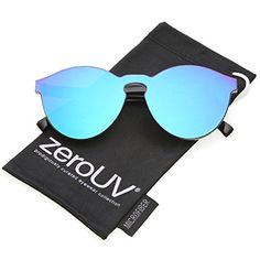 ae0b98afb4 zeroUV One Piece PC Lens Rimless Ultra-Bold Colored Mirror Mono Block  Sunglasses 60mm Green