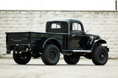 For sale at auction: Modernized custom, with no expense spared to make it a true one-of-a-kind. Beautiful black paint with Saddle diamond-stitched leather. Upgraded with many ext. Old Dodge Trucks, Diesel Trucks, Cool Trucks, Pickup Trucks, Dodge Pickup, Classic Trucks, Classic Cars, Dodge Power Wagon, Barrett Jackson Auction