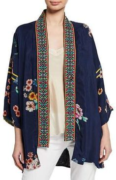 Johnny Was Designer Plus Size Maci Floral Georgette Reversible Kimono w Embroidered Trim Blazers, Embroidered Tunic, Petite Outfits, Petite Women, Kimono Jacket, Johnny Was, Kimono Fashion, Designs To Draw, Jeans