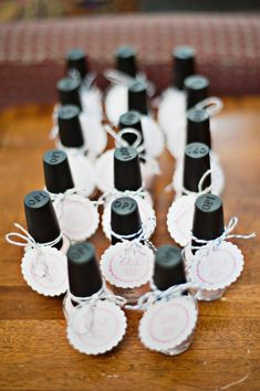 Nail Polish bridal shower favors. See full feature here: http://www.aisleperfect.com/2014/04/chic-bridal-shower-brunch-by-alyssa-renee-photography.html