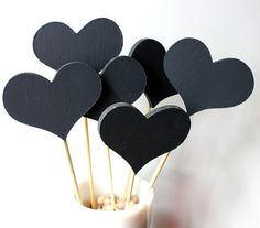 Chalkboard Hearts on a Stick Speech Bubbles von thecottagemarket, $10.00