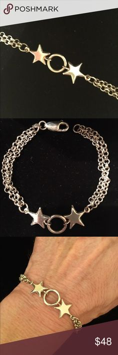 """Circle and Stars Bracelet Sterling silver stamped 925, double rolo chain, lobster clasp bracelet. 7"""" length. Gently worn, in excellent condition. No scratches, dents or other damage. Very cute bracelet! Jewelry Bracelets"""