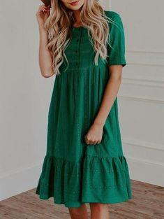 Cute Print Button Green Dress - Green Dresses - Ideas of Green Dresses Modest Dresses, Cute Dresses, Awesome Dresses, Maxi Dresses, Cotton Dresses, Lace Dress With Sleeves, Short Sleeve Dresses, Long Sleeve, Long Dress Patterns