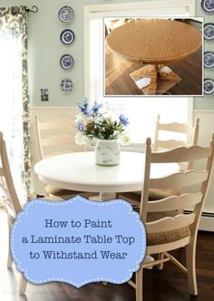 You don't have to live with your ugly laminate furniture anymore! Today learn how you can paint your laminate table top tomorrow paint any laminate furniture! - March 23 2019 at Repurposed Furniture, Shabby Chic Furniture, Table Furniture, Painted Furniture, Home Furniture, Primitive Furniture, Furniture Ideas, Kitchen Furniture, Dresser Repurposed