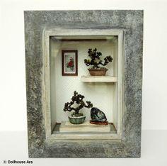 Oriental Bonsai tree (Frame  /No.3), Asian Traditional exclusive decorations- Miniatures 1/12. $139.00, via Etsy.