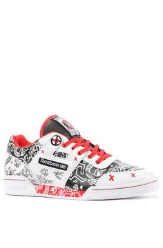 Keith Haring Workout Plus R12 Sneaker in white, black and Techy Red.   This…