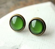 Hey, I found this really awesome Etsy listing at https://www.etsy.com/listing/154715940/dark-green-earrings-green-stud-earrings