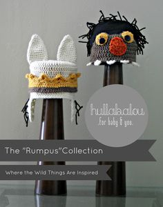 Where the Wild Things Are Inspired Crochet Hats. Prince and Moishe star in The Rumpus Collection by Hullabalou .for baby and you. Send a message to Nina at www.facebook.com/hullabaloubaby to order!
