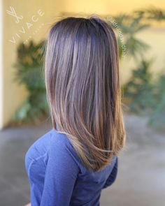 Balayage highlights, root melt, & tone by Adrian Sieminski. We took our brunette much brighter while leaving her low maintenance rooty & keeping her tones neutral.