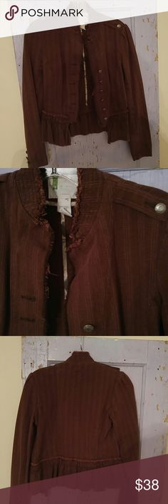 Urbon Outfitters pinstrip jacket so cute excellent condition, its a burnt brownish color,cute buttons and a cute ruffle bottom...the tag says UO so i think that is urban outfitters but not 100% sure. Urban Outfitters Jackets & Coats
