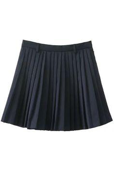 Pleated A-Line Mini Skirt - PURPLISH BLUE L