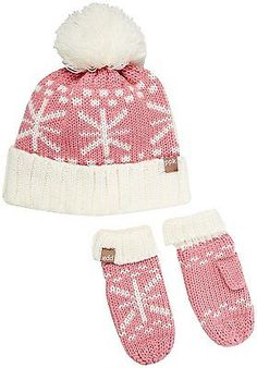 4563611092f83 Hats 15630  Peppercorn Kids Snowflake Pompom Beanie And Mitten Set S 1-2Y