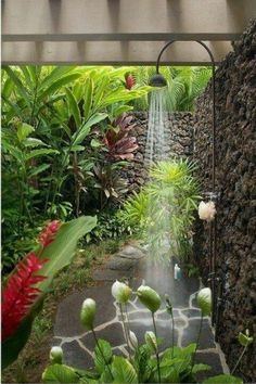 Bathroom with an outdoor shower, in an enclosed private courtyard....... bringing natures to oneself.