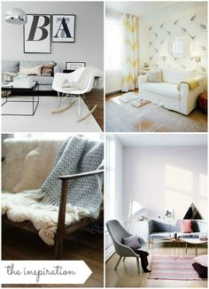 Beautiful living rooms {forty percent fringe : sixty percent face} Grey lounge, sheepskin rug, eames rocker, acrylic coffee table.
