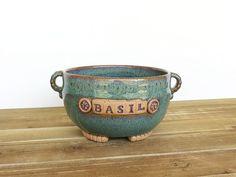 Stoneware Basil Planter Pot in Sea Mist Glaze