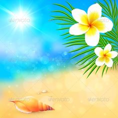 Sunny Summer Beach with Shell and Flowers ... background, bali, beach, beautiful, beauty, blossom, blue, bright, coast, culture, day, decorative, drawing, elegant, exotic, floral, flower, graphic, green, hawaii, hawaiian, holiday, illustration, leaf, natural, nature, ocean, petal, plumeria, realistic