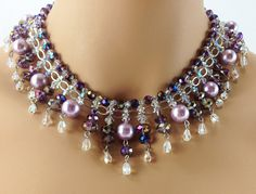 Crystal Necklace Bridal Jewelry Statement Necklace by JCDesignsMI, $160.00